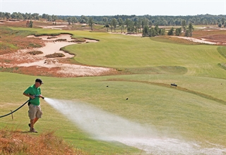 Otto Austin, assistant grounds superintendent, tends to the course at Sand Valley Golf Resort in the Town of Rome in Adams County.