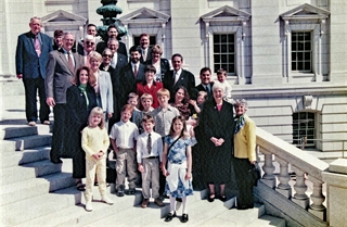 Farrow is surrounded by family at her swearing-in ceremony for lieutenant governor in 2001. FARROW FAMILY PHOTO
