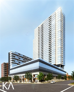 Convent Hill South is an upscale high-rise planned for downtown Milwaukee. KORB + ASSOCIATES ARCHITECTS RENDERING