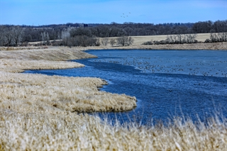 At the Fairwater Sand Plant, what was once a mine site now contains prairie land and a lake full of fish and other wildlife due to Badger Mining's reclamation practices. Photo by Jeffrey Phelps