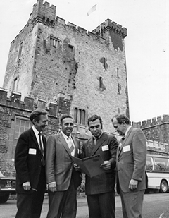 In 1971, Mooney (second from right) poses at Ireland's Knappogue Castle. He spent years pursuing a $30 million development in Ireland that never came to fruition. Mooney family photo.