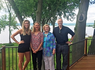 Amanda Berkley is shown with her parents, Patty and Michael, both chiropractors, and her paternal grandmother, Donna, at the family home in Wisconsin. Photo courtesy of Amanda Berkley.