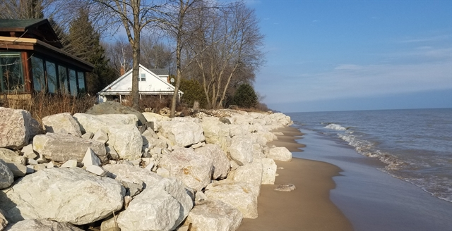Ron DeTroye installed a rock bed at his Oostburg home on Lake Michigan in August 2019 after seeing more than 100 feet of sandy beach disappear during his five years of owning the property. DeTroye family photo.